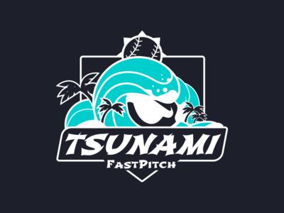 Tsunami Travel Ball Jersey Logo jersey logo fastpitch eye softball wave palm trees tsunami