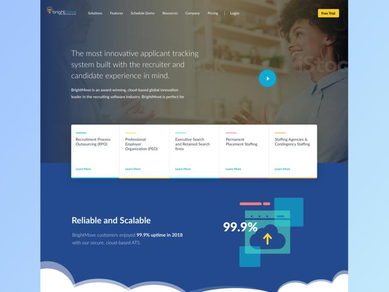 BrightMove Landing Page Hero Concept software recruiting ats clouds brightmove ui hero landing gradient web website