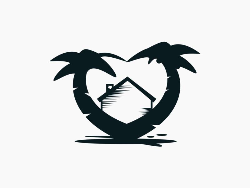 Setting Roots Inc. Logo non profit nonprofit tropical heart house palm trees logo