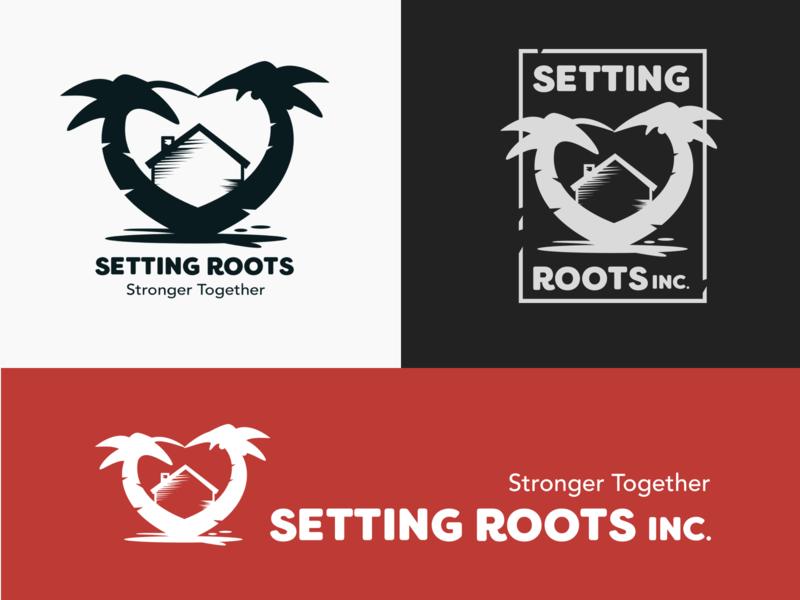 Settings Roots Inc. Logo heart distressed palm trees home house trees non-profit nonprofit logo