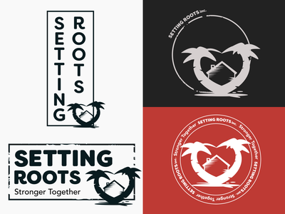 Setting Roots Inc. Logo Combinations heart home house palm trees non-profit nonprofit roots logo