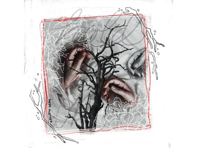 Hold On spooky dark art branch procreate water hands photo editing collage
