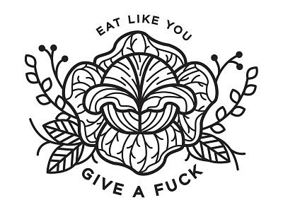 Eating Like You Give a Fuck. black work veganism vegan food design illustration
