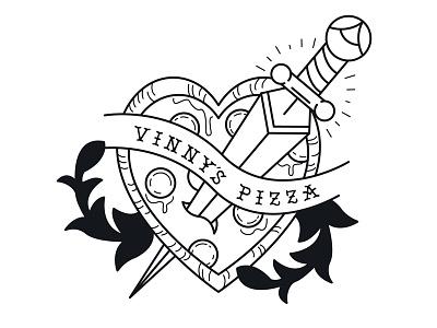 Vinny's Pizza Pie. knife vinnys pizza rebound pizza tattoo illustration
