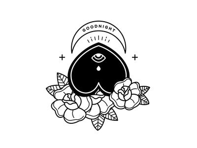 Goodnight gothic spooky illustration flowers goodnight ouija board tattoo blackwork