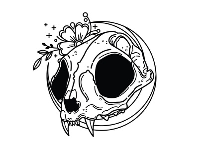 Cat. linework blackwork moon tattoo flowers skull cat