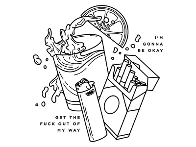 Alcohol. blackwork linework tattoo party lighter cigarettes booze lyrics alcohol fidlar