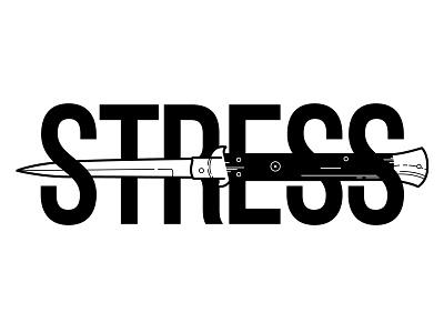 Stress. tattoo illustration knife switchblade text stress