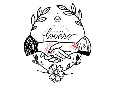 Lovers. lovers love handshake hands linework blackwork flowers tattoo illustration