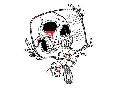 MCR. spooky illustration linework mirror skull lyrics emo tattoo my chemical romance