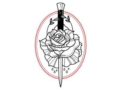 Torn. rose switchblade design linework flowers blackwork tattoo illustration