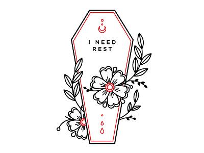 I'm Tried. tired coffin design spooky linework flowers blackwork tattoo illustration