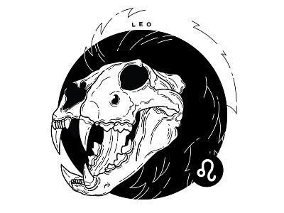 Leo. zodiac sign leo zodiac design spooky blackwork skull tattoo illustration