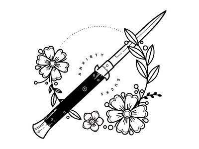 Anxiety. mental health anxious floral mental illness anxiety linework flowers blackwork tattoo illustration