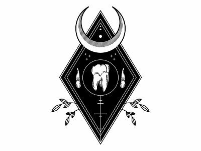 Teeth. occult teeth bones line work design spooky linework blackwork tattoo illustration