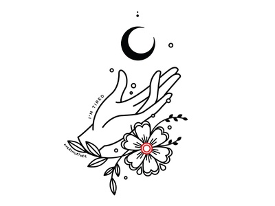 Tired. illustration lineart black work tired im tired occult flowers moon hand
