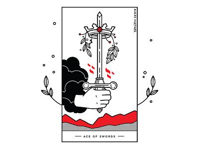 Ace Of Swords. line work blackwork tattoo crown sword ace of swords tarot card tarot