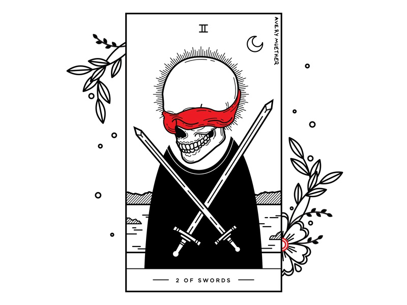 2 Of Swords. tarot deck swords 2 of swords tarot skeleton black work line work spooky linework skull blackwork tattoo illustration