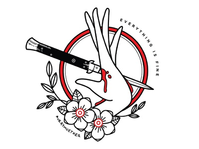 Everything is Fine. linework black work tattoo depression bleeding knife lineart flowers hand illustration