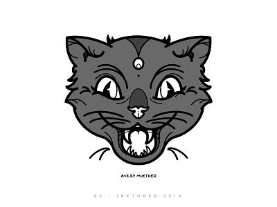 Cat Boy halloween meow procreate blackwork inktober ipad illustration black cat spooky kitty cat