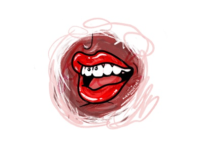 Frenulum. teeth illustration procreate piercing red lips lipstick lips