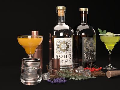 Soho Gin corona package design 3d design 3ds max