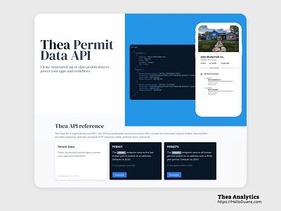 Thea api website & documentation website design website web design mobile ui mobile web ui  ux marketing branding design