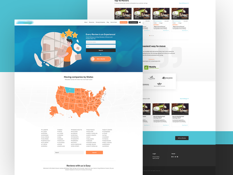 Reviews website for moving companies top10 categories city states map usa adobe xd adobe photoshop landing page home page clean webdesign ux ui reviews website listing directory web app