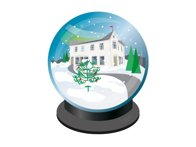 Merry Christmas from the headquarters snow globe illustration