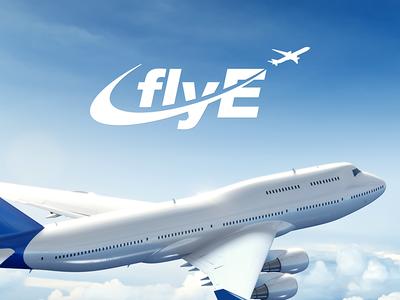 FlyE Logo Design travel wings clouds jet airline plane fly sky mark brand logo
