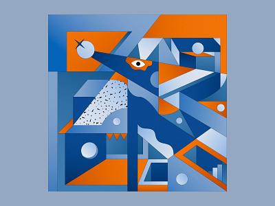 Dogeometry design color blue vector square abstract digital art illustration geometry digital colorful