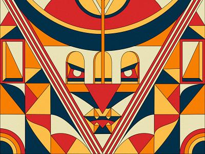 Samurai ipad digital art geometric art abstract japanese culture arrow face blue red geometry vector illustration japanese art japan ninja fighter samurai affinity designer vector japanese