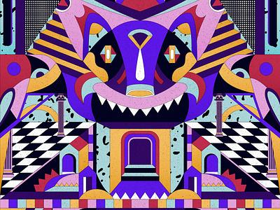 Spirit Guide psychedelic animal shapes geometric art digital digital art colorful vector illustration geometry
