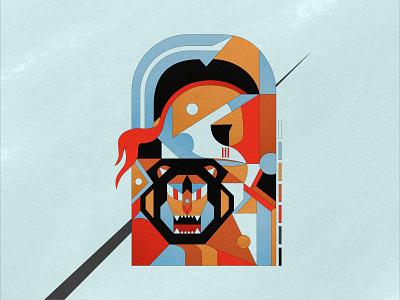 Lionheart artwork affinity designer color vectorial warrior geometry illustration