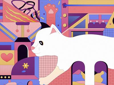 Meow-ral animal artwork animal art animal geometry digital art vectorial illustration vector cat illustration gato cats cat illustration