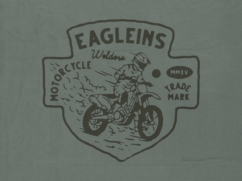 Eagleins motocross motorcycle t-shirt design branding illustration badge design vintage