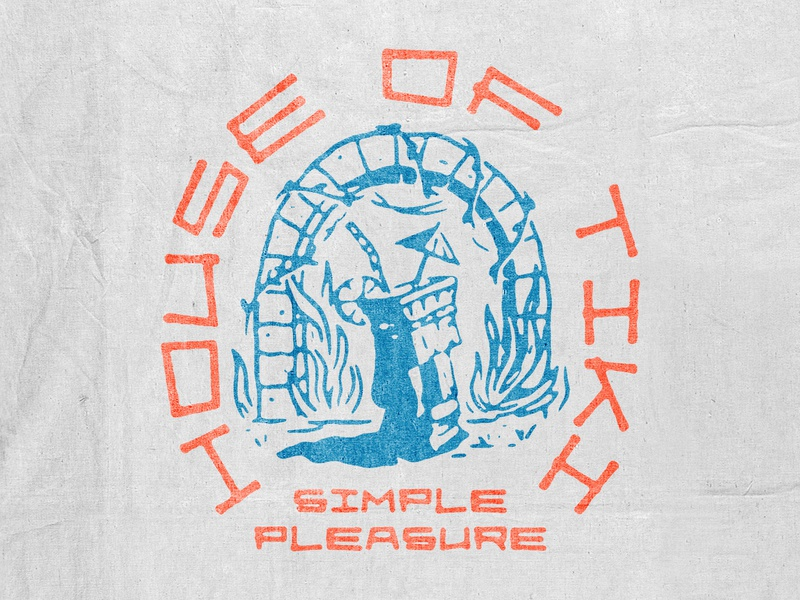 House of Tiki handdrawn design for sale vector vintage design vintage badge t-shirt design branding illustration badge design vintage