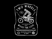 Two Wheels badge design handdrawn vintage vintage trail custom motorcycle deus ex machina deus ride riding bikes bike motorcycle
