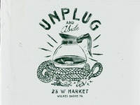 Unplug and Abide old badges vintage design vintage badge t-shirt design branding illustration badge design vintage coffee shop coffee