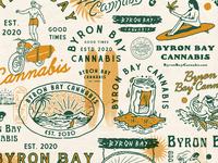 Byron Bay Cannabis typography logo badge design handdrawn custom motorcycle surfboard surfing palm motorcycle surf beach cannabis byron bay