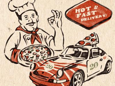 Ferdi's Pizza porsche vintage design vector vintage badge t-shirt design branding illustration badge design vintage