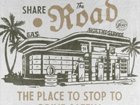 Share The Road collaboration gas station vintage design handdrawn vintage badge t-shirt design branding illustration badge design vintage