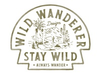 Wild Wanderer Design handdrawn badges vintage design vector vintage badge t-shirt design branding illustration badge design vintage