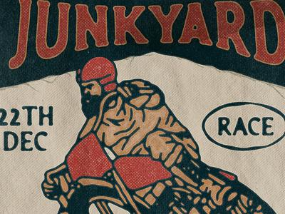 The Junkyard Race poster paper texture old badge design handdrawn vintage race vintage racing race motorcycle