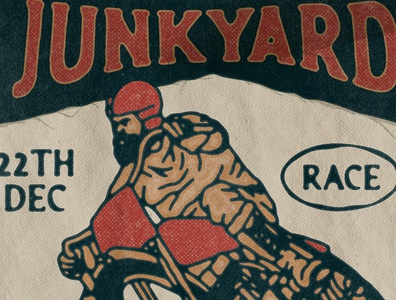 The Junkyard Race poster paper texture old badge design handdrawn vintage race vintage racing race motorcycle