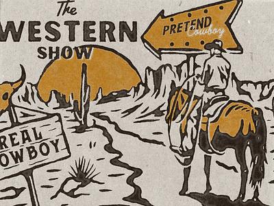 The Western Show handdrawn vintage design vector vintage badge t-shirt design branding illustration badge design vintage