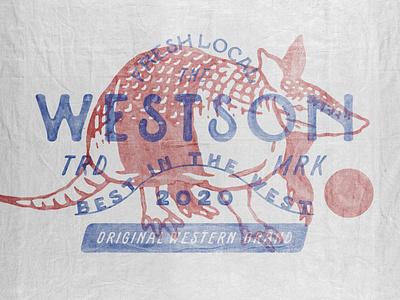Westson western armadillo badges handdrawn vintage design vintage badge t-shirt design branding illustration badge design vintage