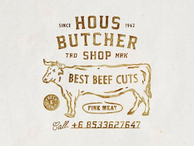 HOUS Butcher typography old badges handdrawn vintage design vintage badge t-shirt design branding illustration badge design vintage
