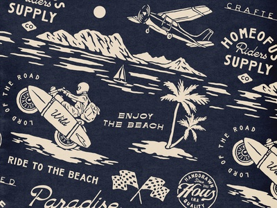 Beachy Pattern palm beach pattern vintage badge t-shirt design branding illustration badge design vintage