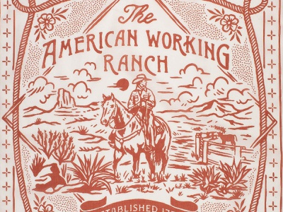 American Working Ranch Bandana desert cactus old cowboy western bandana vintage badge t-shirt design branding illustration badge design vintage